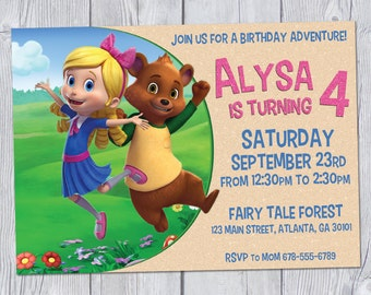 Goldie & Bear Birthday Invitation 7x5, Goldie and Bear Invitation, Goldie and Bear Party, Printable Digital Invitation