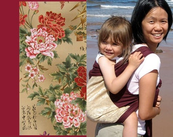 Mei Tai Baby Carrier - Asian Flowers on Red - Peonies