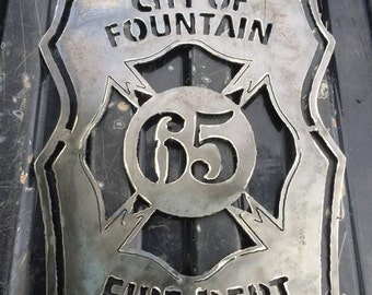 Metal Fire House Sign, Customizable Fire Department Wall Hanging, Badge Number Fire Department Sign