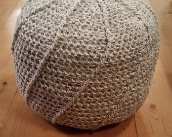 Crochet Pouf, Floor Ottoman, grey and white floor cushion,