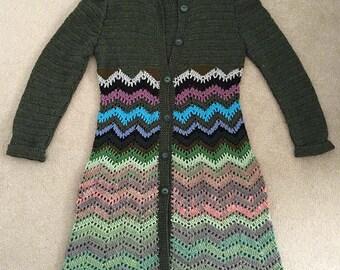 Crochet semi-wool women's coat, Aklamena handmade