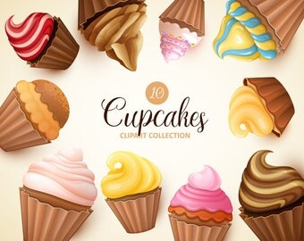 Cupcakes clipart. Cupcakes clip art collection. Sweets clipart. Vector graphic. Digital illustration.