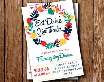Invitation Friendsgiving, Thanksgiving Invites, Thanksgiving Party Invitation, Turkey Day Invites, Make for Order, Printable, PDF