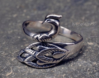 Peacock ring Silver 925 adjustable silver ring ladies jewelry ladies rings SRI150