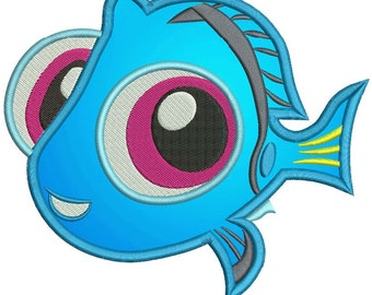 Finding Dory Baby Dory Applique Machine Embroidery Design
