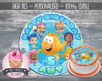 "PRE-CUT 8"" Round Bubble Guppies Inspired Edible Icing Image Cake Topper"