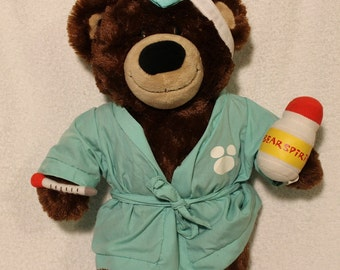 Build A Bear ~ Sick Bear ~ Authentic Outfit and Accessories ~ Plush ~ Stuffed Animal ~Child's Toy ~Vintage Collectible Plush by Build A Bear