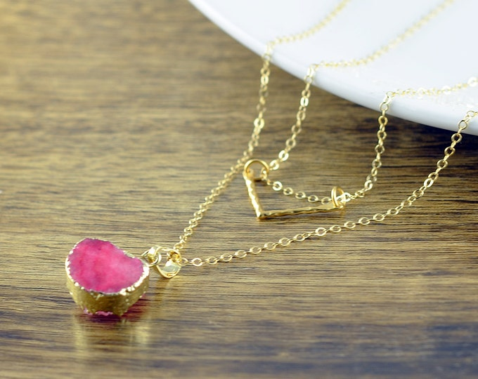 Gold Triangle Necklace - Chevron Necklace - Pink Druzy Necklace - Geometric Necklace - Layered Necklace Set, Layered Necklace, Druzy Jewelry