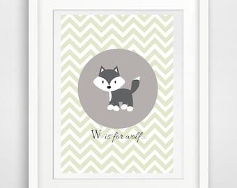 Printable art baby- Wolf print - wolf -  digital prints - nursery printable - instant download - baby print - wall prints