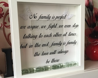 No family is perfect vinyl frame decal - vinyl decal sticker - box frame stickers