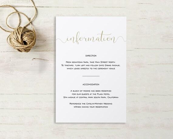 Wedding Enclosure Card Details Card Information Card