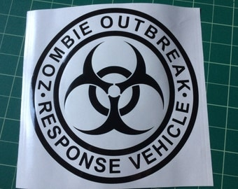 Zombie Outbreak Response Vehicle 20cm vinyl decal