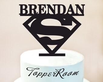 Superman Cake Topper, Superman Party Cake Topper, Superman Silhouette Cake Topper,Superman Birthday Cake Topper,Superhero Cake Topper (1011)