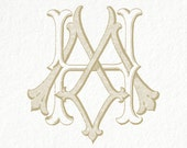 Digital Wedding Monogram  HM MH Vintage Double