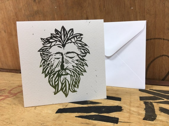 Green Man Card • Green Man Print • Green Man Art • Green Man Greeting Card • Green Man Birthday Card • Pagan Mythology Card • Folklore Card