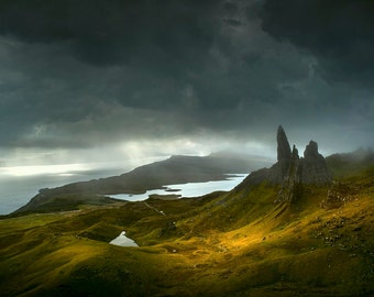 Old Man of Stor, Isle of Skye, mountain, landscape, photography, wall art, storm, rain