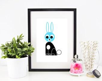 Surprised Bunny Digital Nursery Print