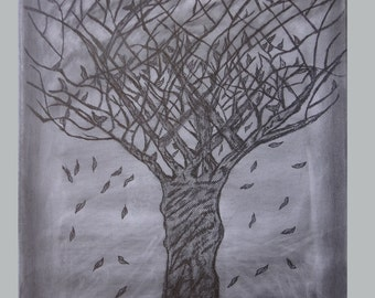 Tree original painting on canvas with graphite, Graphite drawing, Naked Tree-Falling leaves