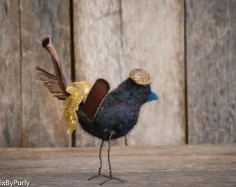 Bird - Needle Felted Bird - PurlyBird 4 - Bird Decor - Bird Art