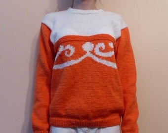 Pullover Handmade Knit Knitwear Long sleeves Orange and White