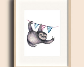 Print A4 - Animal Party - Sloth