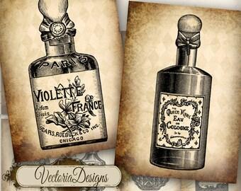 Vintage Perfume Bottles ATC digital background instant download printable images collage sheet VD0046