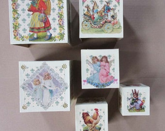 6 Nesting Boxes Vintage Motifs Stacking Blocks Easter Decoration
