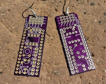 Purple circuit board earrings Osh Park  FREE SHIPPING in US