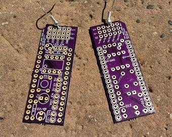 Purple circuit board earrings Osh Park  FREE SHIPPING in US