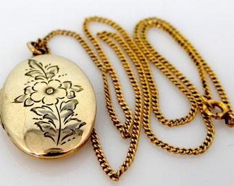 Vintage Floral Gold Filled Locket & Original Chain