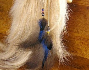 "16"" Feather Hair Extension - Tribal Leather and Feather hair clip with trade beads with blue and gray feathers"