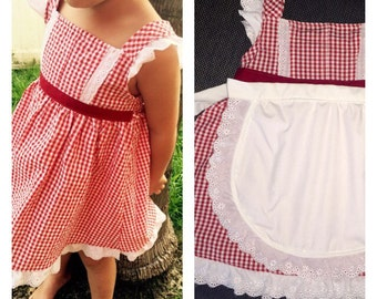 Red gingham dress with apron
