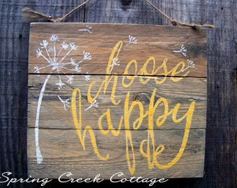 Rustic Signs, Plank Signs, Choose Happy, Home And Living, Inspirational Sayings, Reclaimed, Wood Signs, Handpainted, Home Decor