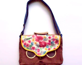 Owl Crossbody Bag Satchel, Vintage Kimono Sakura Fabric, Owl Satchel, Owl Messenger Bag, Owl Sling Bag