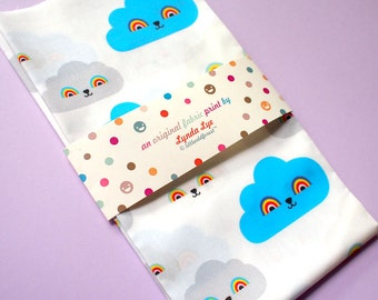 Cloud Fabric Print Fat Quarters, Rainbow print design, cloud print, blue clouds, gray clouds, white clouds, quilting weight cotton fabric