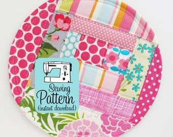Patchwork Coasters PDF Sewing Pattern | Sewing Project for Fabric Scraps | Log Cabin Patchwork Pattern