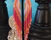 Pink Grapefruit - Radiant Fringe Earrings