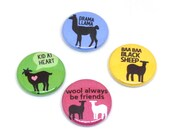 Sheep Pins, 1 inch pin back, Llama, Goat, Lambs, Set of 4