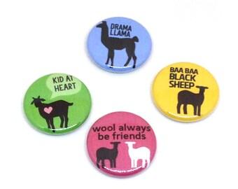 Sheep Pins, 1 inch pin back, Llama, Goat, Lambs, Set of 4