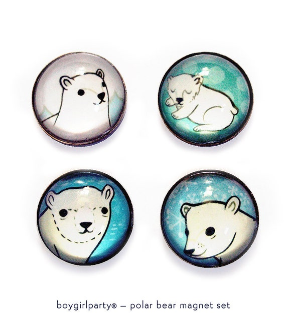 unique winter gift: POLAR BEAR magnets (magnet set of 4) - polar express by boygirlparty, north pole alaska art white bear gifts