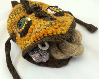 Yarn Holder Monster, Yarn Bowl for Crochet and Knitting, Functional Art for Fiber Artists - Larry Monster