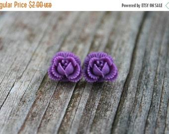 SALE REDUCED Ruffled Rosebud Stud Earrings - Purple