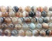 Light Brown & Gray Agate Round Gemstone Beads