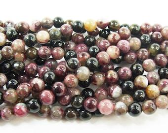 Tourmaline Round Gemstone Beads