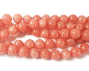 Red Orange Jade Round Gemstone Beads