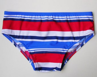 Mens Brief Swimsuit in Red White and Blue Stripe in S.M.L.XL