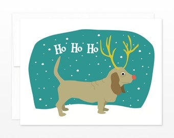 Funny Basset Hound Christmas Card, Anti-Christmas Card, Dog Holiday Card - grumpy holiday card, card for him, dog lovers card
