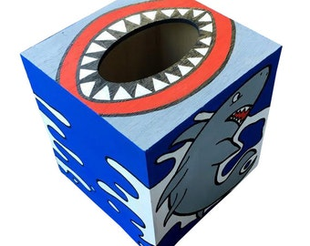 Shark Attack Hand Painted Tissue Box Shark Week Matches Toilet Seat in Shop