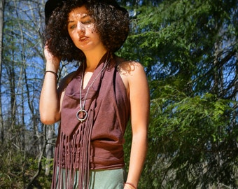 White Tara Fringe Halter Top in Organic Cotton Hemp. Made to order. Summer festival clothing.