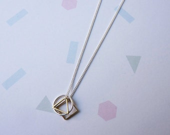 Mini Symmetry Necklace- Delicate Sterling Silver Triangle, Circle and Hexagon Necklace Geometric